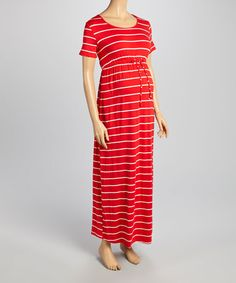 Take+a+look+at+this+Red+&+White+Stripe+Maternity+Maxi+Dress+on+zulily+today!