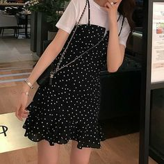 Korean Summer Outfits, Korean Casual Outfits, Korean Outfit Street Styles, Cute Casual Outfits, Pretty Outfits, Layered Summer Outfits, Black Summer Outfits, Korean Style, Kpop Fashion Outfits