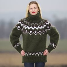 SuperTanya online boutique for hand knitted sweaters and other hand made knitwear crafted from mohair angora cashmere alpaca and other premium materials Thick Sweaters, Hand Knitted Sweaters, Wool Sweaters, Sweaters For Women, Mohair Yarn, Mohair Sweater, Green Turtleneck, Icelandic Sweaters, Hand Knitting