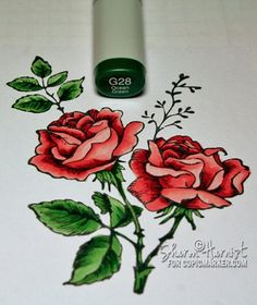 Coloring and shading flowers with Copics by Sharon Harnist