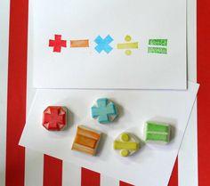 Handmade Rubber Stamp  Mathematics Symbols set of 5 by theKeris, $11.50