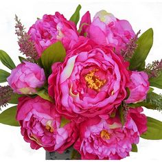 1 Bunch Hight Quality Fake Peony Artificial Flower Bouquet Home Office Decor Rose with Free Gift *** Click on the image for additional details.