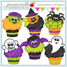 Halloween Cupcakes Cute Digital Clipart por JWIllustrations
