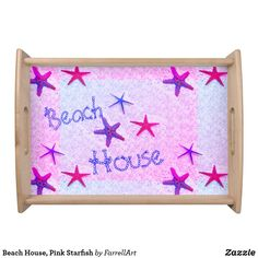 Shop Beach House, Pink Starfish Serving Tray created by FarrellArt. Cheese Trays, Natural Wood Finish, Pink Summer, Starfish, Beach House, Create Your Own, Cool Stuff, Frame, Food Trays
