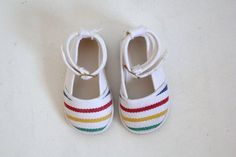 Vintage Baby Girl Shoes Fabric Stripes sur Etsy, 25,29 €