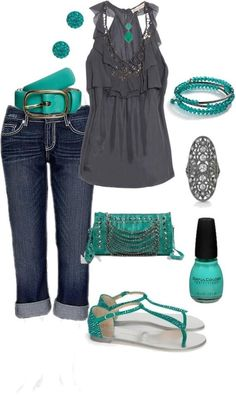 stylish eve   Stylish Eve Combo   My Style green grey scheme pants jeans grey top turquoise purse