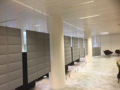 Akoestische panelen die een ruimte verdelen in allerlei maten en heel veel kleuren o.a. Ecovilt en PETvilt