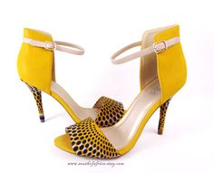 African Fabric Ankle Strap Stiletto Sandals Suga by SouthOfAfrica, $58.00
