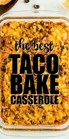 Soft tortillas are layered with beef, seasonings, and toppings to make this cheesy, easy taco bake. It makes a perfect weeknight family dinner. and easy dinner recipes Taco Bake {Super Cheesy} Easy Taco Bake, Easy Hamburger Casserole, Chicken Casserole, Taco Bake Casserole, Casserole Dishes, Taco Casserole With Tortillas, Easy Hamburger Meat Recipes, Mexican Lasagna With Tortillas, Hamburger Meat Casseroles