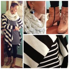 Combining stripes: Snood: citymob.co.za. Striped t-shirt: Trenery. Black tight pants: Forever New. Boots: Woolworths.