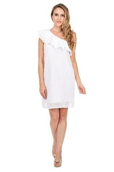 This white eyelet dress has a geometric pattern, and short sleeves. White Eyelet Dress, Little White Dresses, One Shoulder, Short Sleeves, Summer, Pattern, Cotton, Shopping, Collection