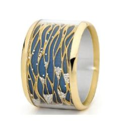 Russian jeweller Ilgiz Fazulzyanov available at Annoushka stores in the UK. blue vitreous enamel and gold ring.