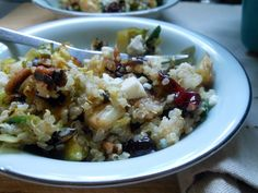 Warm Quinoa Salad with Brussels Sprouts + Pecans + Cranberries - Sugar Dish Me. ☀CQ #glutenfree