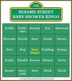 sesame street baby shower | Sesame Street Baby Shower Bingo Cards