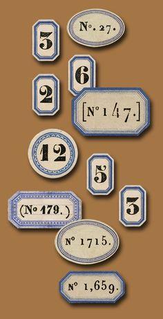 Blue Labels Numbers by La Belle Brocante Vintage Graphic Design, Vintage Type, Vintage Labels, Vintage Ephemera, Typography Letters, Typography Design, Vintage Numbers, Vintage Lettering, Alphabet And Numbers