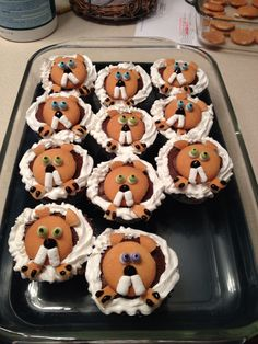 Groundhog cupcakes were a hit for a groundhog themed birthday party!