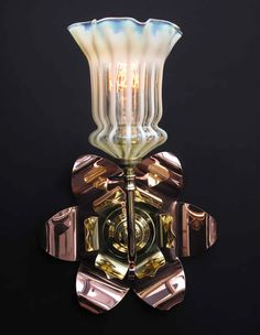WAS Benson Reflector Wall Light with Antique Vaseline Glass Shade.