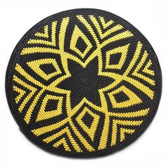 Handmade Fair Trade Zulu Telephone Hardwire Basket - Starburst Design: Yellow & Black from South Africa Mochila Crochet, Tapestry Crochet Patterns, Bubble Art, Zulu, Bead Crochet, Crochet Accessories, Crochet Scarves, Yellow Black, Crochet Projects