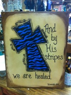 Canvas Cross Painting with Zebra Stripes  And by CrossInspirations, $25.00