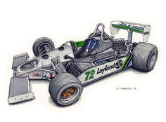 """1980 Williams FW07B I sketched this at the Spa Historic 6 Hours.  Pencil, pen&ink, markers on 12""""x 9"""" watercolour paper © Paul Chenard 2015  The original art available."""
