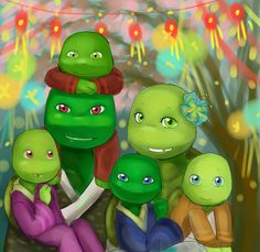 It's Leonardo Donatello Michelangelo and Raphael as little kids. If they had turtle parents this would be so cool.
