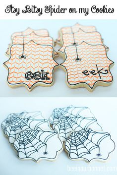 Itsy Bitsy Spider Cookies Little Tiny Spiders are great, when they're on a Halloween cookie! Thanksgiving Cookies, Fall Cookies, Iced Cookies, Cute Cookies, Royal Icing Cookies, Cookies Et Biscuits, Holiday Cookies, Cupcake Cookies, Halloween Cookies Decorated