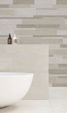 Love the colors. tan tub which i need to keep, but want to change the rest of it up. minimalist interior design Royal Mosa tiles. natural color bath room