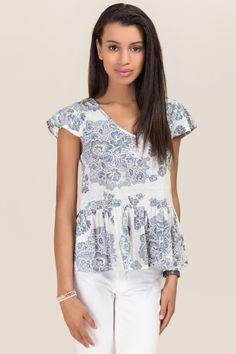 White Perla Burnout Floral Knit Top |                                              francesca's