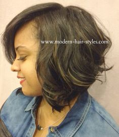 short Bob with Leave out and loose curls for added body.