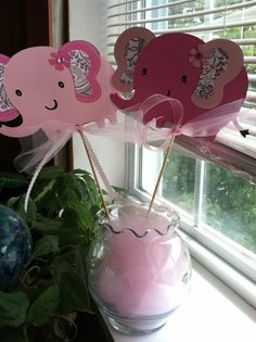 Elephant Centerpiece Skewers 6 pc, Elephant Baby Shower, Elephant Birthday Party, Elephant Decoration, Custom Made to Order on Etsy, $18.00