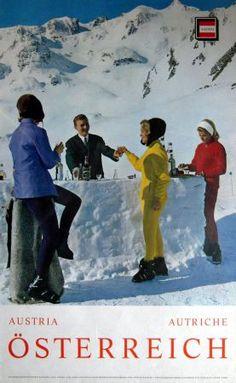 vintage ski poster - ca 1970. ÖSTERREICH SCHLOSSALM BAD HOFGASTEIN