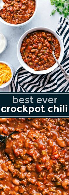 A scrumptious crockpot chili with dozens of evaluations and winner of a number of chili cook-offs! This crockpot chili recipe winner is made with loads of spice and full of plenty of taste! Top Crockpot Recipes, Healthy Crockpot Recipes, Slow Cooker Recipes, Cooking Recipes, Easy Crockpot Chili, Beef And Sausage Chili Recipe, Crockpot Chilli Beans, Slowcooker Chili, Flavorful Chili Recipe