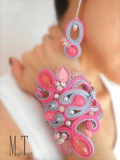 Items similar to SOLD pink soutache jewelry set, oversized pink blush bracelet, pastel pink jewelry set, pastel pink soutache cuff, pastel pink earrings on Etsy Pink Jewelry, Boho Jewelry, Jewelry Sets, Jewelery, Statement Jewelry, Diamond Jewelry, Soutache Bracelet, Soutache Jewelry, Beaded Bracelets