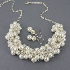 White Pearl Cluster Necklace Pearl by DaisyBeadzJoaillerie on Etsy