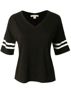 LE3NO Womens Cropped 3/4 Sleeve Baseball Shirt