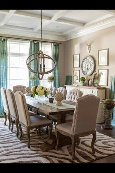 Wonderful Dining Room Decor Ideas   Transitional, Eclectic Tan And Turquoise Dining  Room In The Washington DC Home Of Christen Bensten Of Blue Egg Brown Nest U2013  Photo: ...