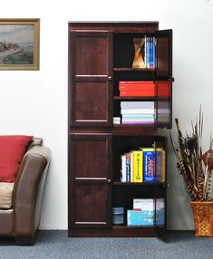 Concepts In Wood Concepts in Wood Storage Cabinet, 72 inch with 5 Shelves - Cherry Finish Wood Storage Cabinets, Door Storage, Office Storage, Ready To Assemble Cabinets, Walnut Bookcase, Shelf Paper, Veneer Panels, Wood Molding, Wood Veneer