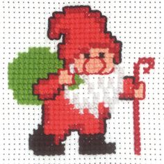 Santa Delivery from Permin counted cross stitch kit. The final design is x in size. Santa Cross Stitch, Counted Cross Stitch Kits, Cross Stitch Embroidery, Christmas Afghan, Christmas Cross, Cross Stitch Designs, Cross Stitch Patterns, Christmas Tree Ornaments To Make, Needlework
