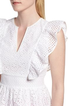 1901 Cotton Eyelet Ruffle Top (Regular & Petite) | Nordstrom