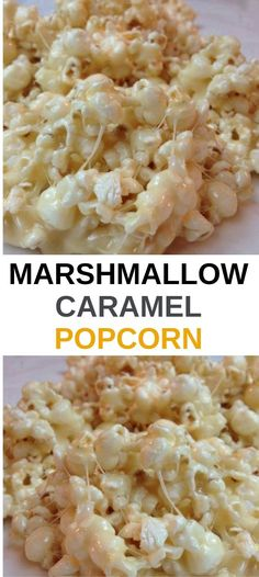 Marshmallow Caramel Popcorn Here's a recipe to take popcorn to the next level. Marshmallow caramel popcorn are going to bring a lot of happy faces in the crowd. It is quick, takes no effort, but is amazing with the buttery caramel . Marshmallow Popcorn, Marshmallow Caramel Popcorn, Caramel Popcorn Recipe Without Corn Syrup, Sweet Popcorn Recipes, Sugar Popcorn, Cinnamon Popcorn, Marshmallow Recipes, Popcorn Snacks, Popcorn Balls