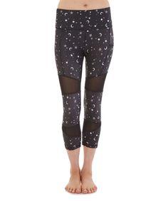 Loving this Black Star & Moon Mesh-Insert Capri Leggings on #zulily! #zulilyfinds