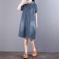 Women Polo Collar Short Sleeve Blue Denim Dress