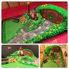 Marzipan ('Fondant') Lord of the Rings / Hobbit - The shire - cake Hobbit Cake, Marzipan Cake, Picnic Blanket, Outdoor Blanket, Ring Cake, Party Rings, Boy Birthday Parties, Lord Of The Rings, Tolkien