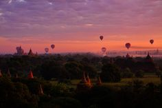 Bagan, Burma Bagan boast of the largest and densest concentration of Buddhist temples and stupas in the world. For an unparalleled view, you can take a hot air balloon ride at sunrise.
