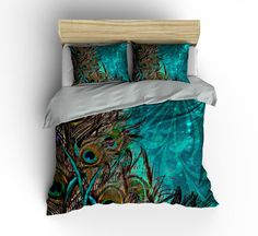 Luxe Bedding Teal Peacock Duvet Cover  Set- Peacock Bedding-Teal Bedding-Comforter Cover-Pillow Shams-Luxe Woven Top-Heavier Weight
