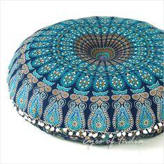 "Decorative Boho Mandala Floor Cushion Pillow Cover Peacock feather Blue Indian Decor - 32"""