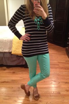 Navy Stripes/Mint Skinnies- I look awful in horizontal stripes but I like this combo.