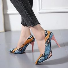 There is always many products on sae upto - Women PU Leather Pointed Toe Pumps Snake Printing Female Shoes Fashion 2020 Slip on High Heel Pumps Plus Size Ladies Footwear - Pro Shopperz Pink High Heels, Super High Heels, Pink Shoes, Sexy High Heels, High Heels Stilettos, Womens High Heels, Stiletto Heels, Shoes Heels, Classy Heels