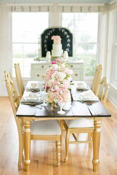 vintage wedding, blush, mint, gold, farmhouse table, antique dresser