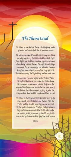 Nicene Creed - artwork by Rachel Mabey. banners available in various sizes. Also available as a foamex board or poster or part of a set of four in each format.